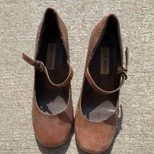 Steve Madden Brown Leather Wedge SPOONN Size 6